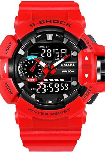 Hombre Reloj Deportivo Militar Digital Japonés Calendario/Cronógrafo/PU/Silicona Banda Casual/Resistente a los Golpes/Resistente al Agua (Rojo)