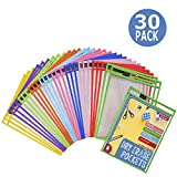 Dry Erase Pockets 30 Pack - Dry Erase Sleeves - Reusable Sheet Protectors - School or Work - Oversized 10 x 13...