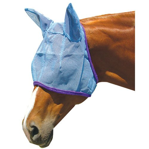 Intrepid International Fly Mask with Ear Protection, Large Horse, Blue