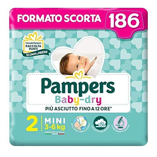 Pampers Baby Dry Duo Mini, 186 Windeln, Größe 2 (3-6 kg)