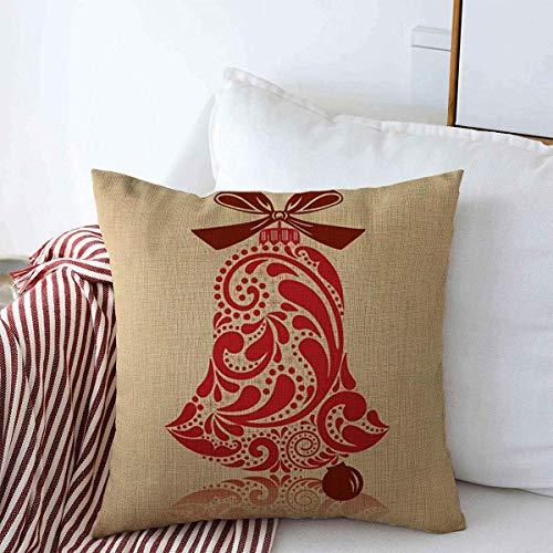 Mengghy Funda de almohada, decoración del hogar, fundas de almohada, funda de almohada, lazo beige diciembre, diseño vintage de hojas de campana, días festivos, color marrón