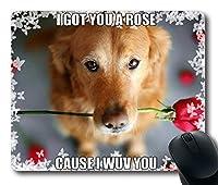 ローズロマンチックな傑作限定デザイン長方形マウスパッドとかわいい犬