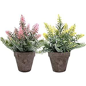 Silk Flower Arrangements Artificial Potted Plants Lavender, CATTREE Plastic Flowers Faux Shrubs Grass Fake Leaves Greenery Home House Outdoor Indoor Garden Wedding Party Decoration Office Verandah UV Resistant – Pink Yellow