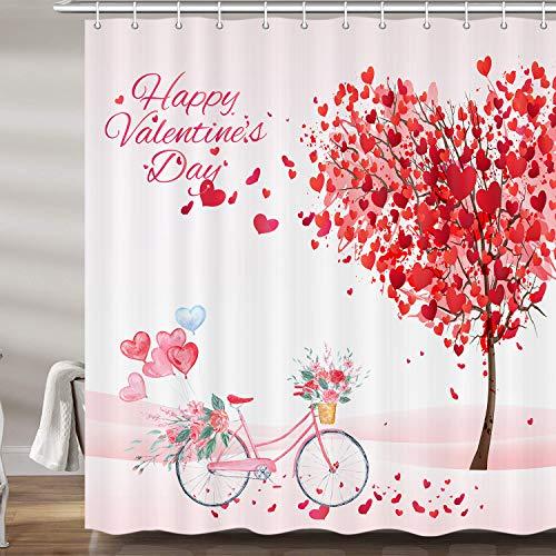 Valentinstag-Dekor-Duschvorhänge für Badezimmer, Valentinstag, Urlaub, Duschvorhang-Set, rot rosa herzförmiger Baum, Fahrrad-Badzubehör, Dekor, Haken enthalten (69 B x 72 H)