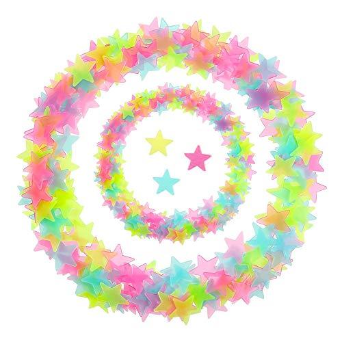 Gobesty Pegatinas de estrellas que brillan en la oscuridad, 200 pedazos Glow Stickers Stars, Estrellas brillantes para pegatinas de techo, Etiqueta de la pared luminosa