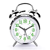 PILIFE 4 inch Retro Analog Twin Bell Alarm Clock for Heavy Sleepers, with Backlight, no Snooze Button, no Ticking, Battery Powered, Super Loud Alarm Clock for Bedroom,Sliver