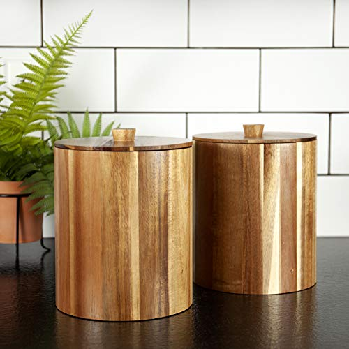 set of 2 Wood Canisters for your Kitchen countertops