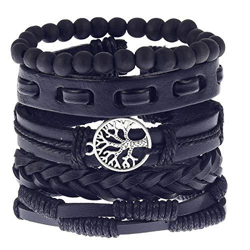 Lederen Armband voor Mannen in Zwart, Verstelbare Gevlochten Lederen Armbanden en Houten Kralen Armband Set Pack (5st)