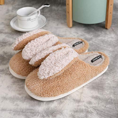Zapatillas de Estar por Casa para,Zapatillas de algodón de conejo de felpa antideslizantes cálidas para el hogar de las mujeres, zapatos lindos para el hogar de de pareja para hombres amarillo EU35-36