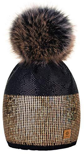 4sold 4sold Damen Wurm Winter Style Beanie Strickmütze Mütze mit Fellbommel Bommelmütze Hat Ski Snowboard Pelz Bommel Pompon Kleine Kristalle Sequins Crystals (Schwarz)