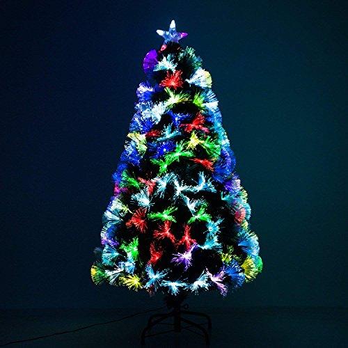 HOMCOM Sapin de Noël Artificiel Arbre de Noël Lumineux en Fibre Optique Deco Noël lumière à Variation de Couleurs 130 LED Vert Neuf 17