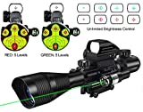 MidTen Riflescope Combo 4-12x50EG Dual Illuminated Optics & IIIA/2MW Laser Sight(Green) & 4 Holographic Reticle Red/Green Dot Sight & 20mm Scope Mount