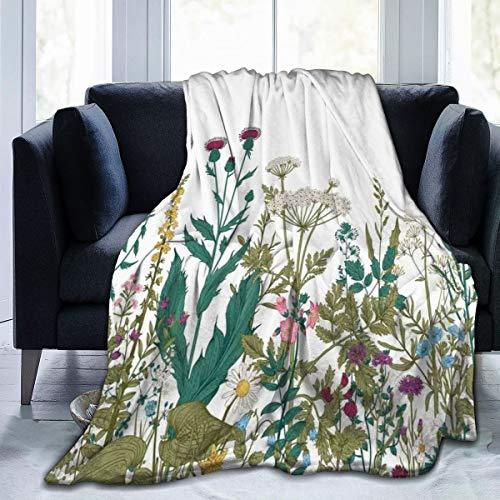 Qing_II Manta de forro polar con diseño de hojas en un jardín de primavera con margaritas de rosas, de franela de hortensias, para invierno, suave, cálida, manta de 50 x 65 pulgadas para cama, sillón, oficina
