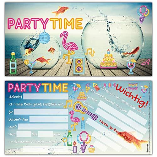12er Set GOLDFISCHE EINLADUNG - edle & witzige Einladungskarten zum Kinder-Geburtstag oder Party für Jungen Mädchen & Erwachsene von BREITENWERK