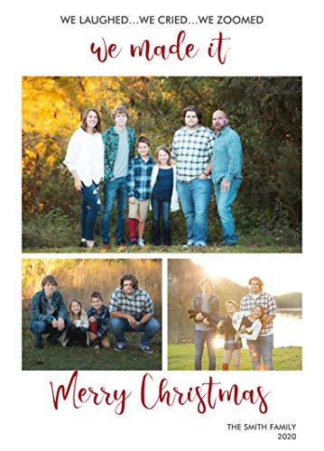 Holiday Christmas Photo Personalized Card Season Greetings Laughed Cried Zoomed Social Distance Pandemic 2020 10 Cards