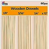 Varillas de madera para manualidades – 60 tacos redondos de madera de 30,48 cm en diferentes tamaños – 1/8, 3/16, 1/4 – diferentes varillas – palos redondos