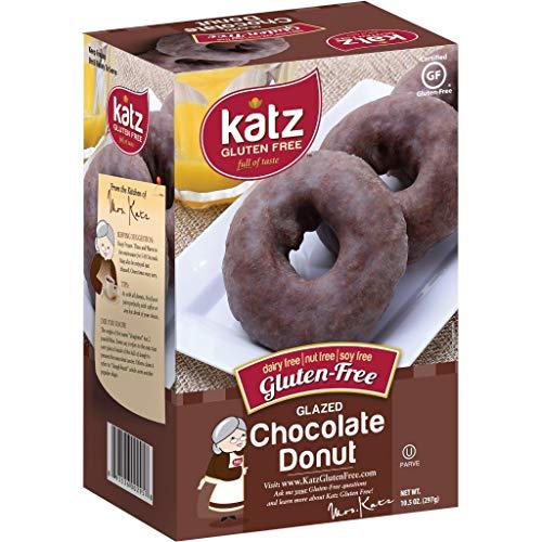 Katz Gluten Free Glazed Chocolate Donuts | Dairy Free, Nut Free, Soy Free, Gluten Free | Kosher (1 Pack of 6 Donuts, 10.5 Ounce)
