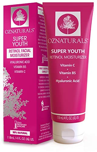OZNaturals Face Moisturizer Retinol Cream: Super Youth Anti Aging Face Cream with Vitamin C, B5, Shea Butter, Hyaluronic Acid - Day and Night Skin Firming Retinol Moisturizer Wrinkle Cream - 4 Fl Oz