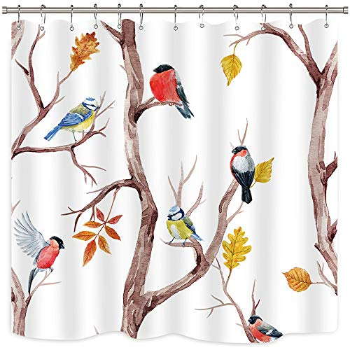 Riyidecor Watercolor Birds Shower Curtain Twig Branch Brown Trees Oil Painting Herbs Decor Fabric Set Polyester Waterproof 72x72 Inch 12-Pack Plastic Hooks