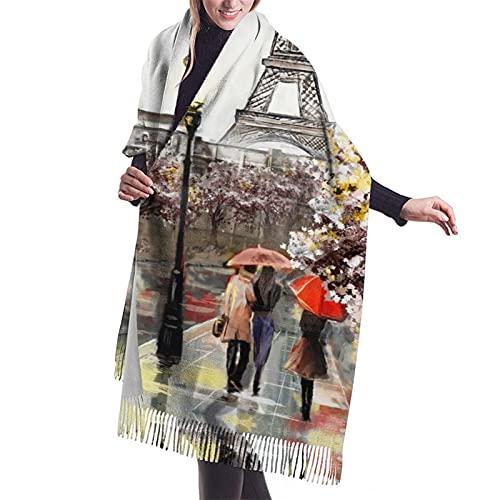 Bufanda de invierno suave y cálida sensación de cachemira pashmina chal envuelve bufanda de borla impresa, Pintura al óleo negra con diseño de la Torre Eiffel de París bajo paraguas rojos, Talla única