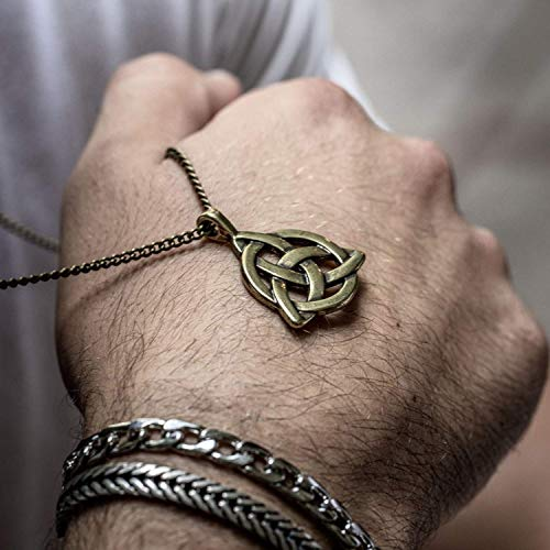 Bronze Plated Celtic Knot Triangle Triquetra Irish Trinity Knot Pendant Necklace for Men, Handmade, 24' with 2' Extension, Lobster Clasp