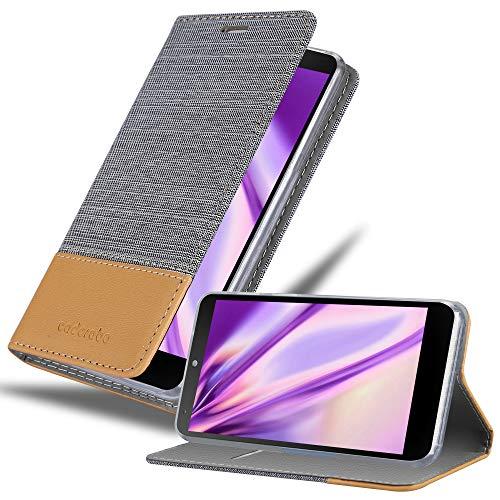 Cadorabo Custodia Libro per LG Nexus 5 in Grigio Chiaro Marrone - con Vani di Carte, Funzione Stand e Chiusura Magnetica - Portafoglio Cover Case Wallet Book Etui Protezione