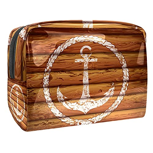 Bolsa de Aseo Hombres y Mujeres Ancla náutica Blanca para Niñas Organizador de Bolso Cosmético Accesorios de Viaje Bolsa de Viaje Bolsa de Lavado 18.5x7.5x13cm