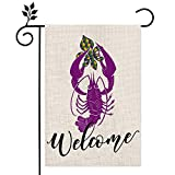 CROWNED BEAUTY Mardi Gras Garden Flag 12×18 Inch Small Crawfish Fleur de Lis New Orleans Vertical Double Sided Flag for Outside Yard Carnival Party Farmhouse Décor CF041-12