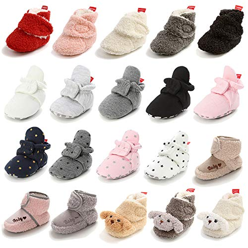 Timatego Newborn Baby Boys Girls Booties Stay On Socks Non Skid Soft Sole Infant Toddler Warm Winter House Slipper Crib Shoes 0-18 Months, Baby Booties 0-6 Months Infant, 01 Black
