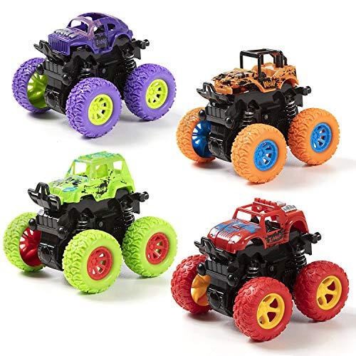 WolinTek 4 Paquetes Niños Camión Monstruo,Tire hacia Atrás del Coche,Inercia Vehiculo Todoterreno Juguete, Autos de Carreras con Rotación de 360 Grados Coches de Juguetes Regalo para Niños 3+ años