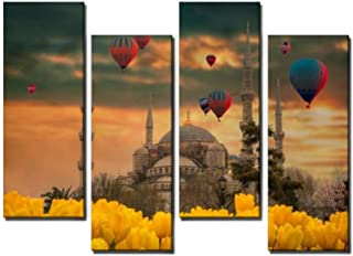 4 Panel hot air Balloons Flying Tour Over The Blue Mosque Sultan Ahmet camii Canvas Wall Art Ocean Oil Painting Animal Prints City Poster Flower Pictures Home Wall Decoration for Artwork