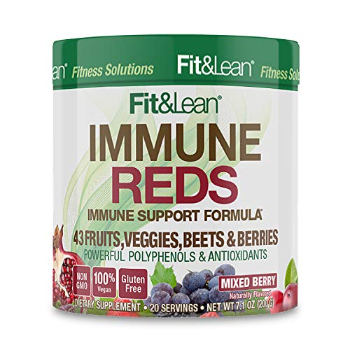 Fit & Lean Fit & Lean Immune Reds Superfood, Non GMO, Antioxidants, Vegan, Gluten Free Drink Mix, 20 Servings