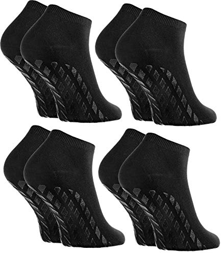 Rainbow Socks - Hombre Mujer Calcetines Cortos Antideslizantes de Bambu - 4 Pares - Negro - Talla 36-38