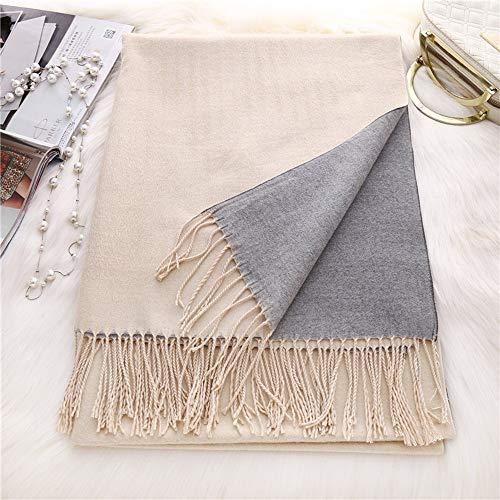 WXQY sjaal Double-Face met sjaal in twee kleuren, lange, dikke wintersjaal, imitatie, sjaal, sjaal, sjaal, nappa, warm, licht