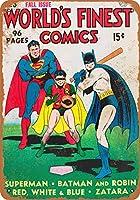 Shimaier 30×40cm 米国金属ブリキ看板ホーム装飾1941スーパーマン、バットマンとロビン遊び野球