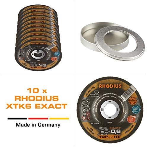 RHODIUS extra dünne INOX Trennscheiben Metall XTK6 EXACT Made in Germany Ø 125 mm für Winkelschleifer Metalltrennscheibe 10 Stück