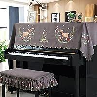 ピアノカバーおしゃれピアノトップカバーピアノカバー 花柄トップカバー可愛い ピアノカバー 北欧 鹿刺繍簡約アップライトピアノ高品質人気静電気防止灰つけない OSONA