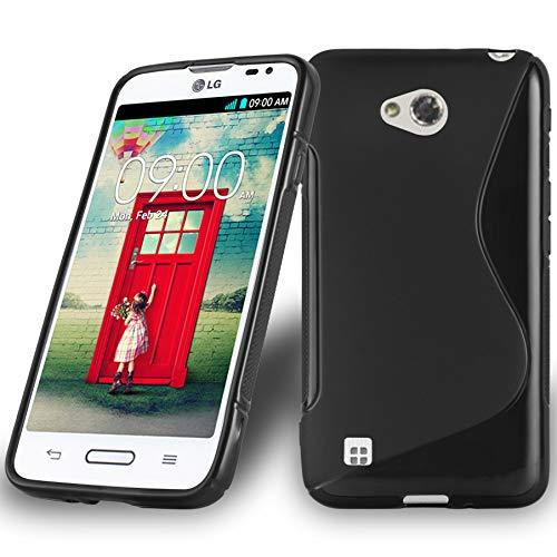 Preisvergleich Produktbild Cadorabo Hülle für LG L50 - Hülle in Oxid SCHWARZ Handyhülle aus flexiblem TPU Silikon im S-Line Design - Silikonhülle Schutzhülle Soft Back Cover Case Bumper