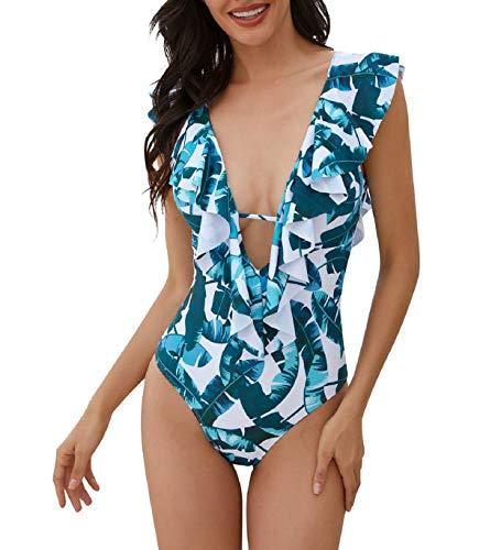 Voqeen Maillot de Bain Femme 1 Pièce Sexy Col V Volants Monokini Licou Maillot Une Pièce Maillot de Bain Imprimé Fleuri Body Swimwear(Blanc-Feuille de Bananier,S)