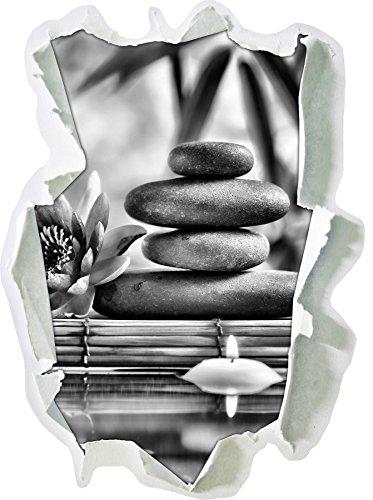 Monocrome, nénuphar avec des pierres zen et bougies Papier aspect 3D, la taille de la vignette mur ou de porte: 92x67cm, stickers muraux, sticker mural, décoration murale