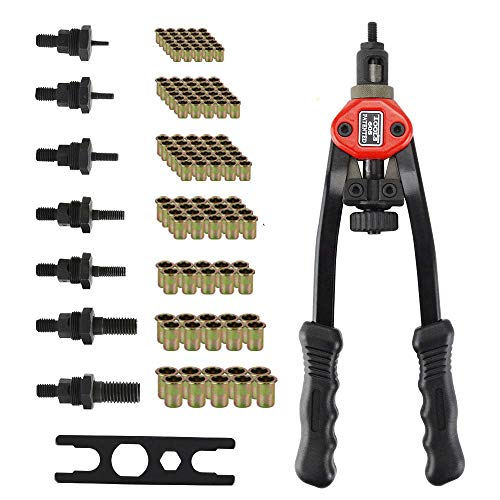 Alicates de remaches profesionales para remachar pinzas de engaste tuerca ciega – 150 tuercas para engastar 7 piezas Mandriles intercambiables M3 M4 M5 M6 M8 M10 M12