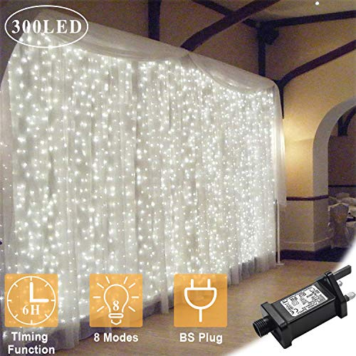 OMGAI Window Curtain Icicle String Lights of 300LED for...