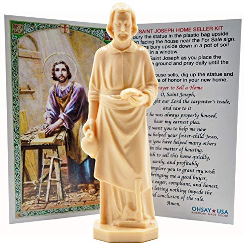 St. Joseph Statue Home Seller Kit - Made in USA - Sold by Vets – Custom Prayer Card Included