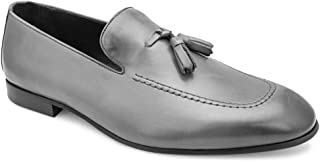 tresmode Men's Classic Tassel Loafers in Grey Leather