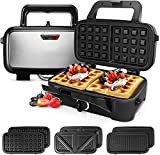 Sandwich Maker 3 in 1 Waffle Maker, 1200-Watts SandwichGrill with 5-Gears Temperature Control, Detachable Non-stick Coating Easy to Clean, Cool Touch Handle, Anti-Skid Feet, Black