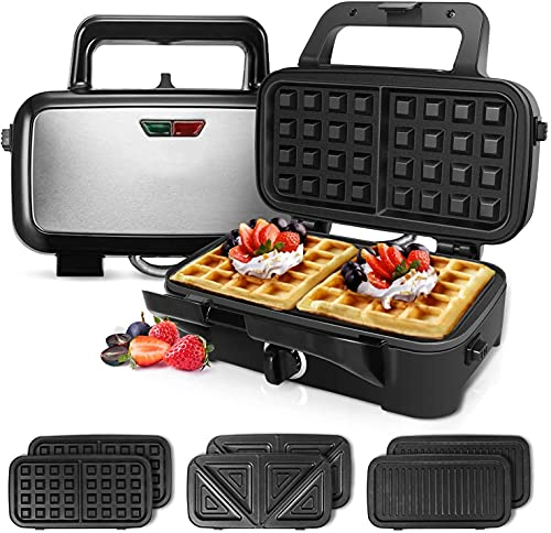 Waffle Maker 3 in 1, Sandwich Maker with Removable Plates,1200W Deep Fill Sandwich Toasters &...