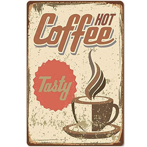 XIAODAN Placa de pared para café caliente sabroso/cafetera vintage de metal retro retro cartel de pared Cafe Bar Pub decoración regalo 8x12 pulgadas