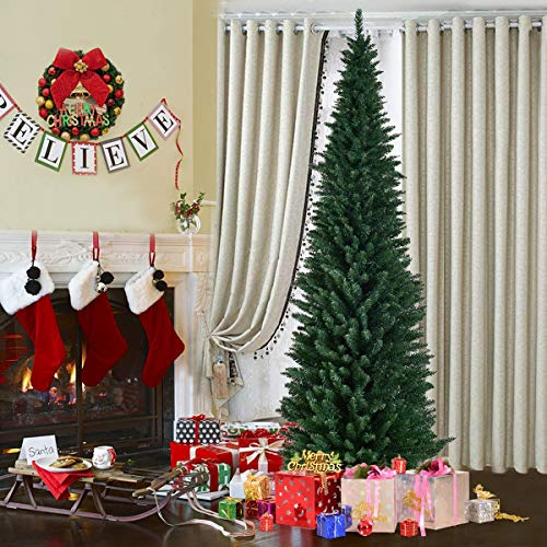 GYMAX 5FT 6FT 7FT 8FT Green Pencil Slim Christmas Tree, Artificial Traditional Xmas Tree, Indoor Outdoor Christmas Decoration and Gift (240 cm/8 ft)