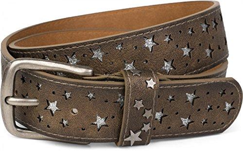 styleBREAKER Gürtel mit Sterne Cutout und glitzernden kleinen Pailletten, Glitzergürtel, Damen 03010072, Farbe:Antik-Bronze;Größe:95cm