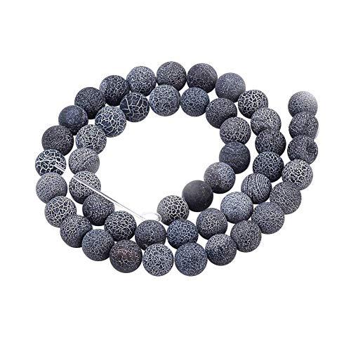 Aproximadamente 38 piezas de hebras de cuentas de ágata natural degradado cuentas de piedras preciosas redondas teñidas esmeriladas para hacer joyas, gris 10 mm